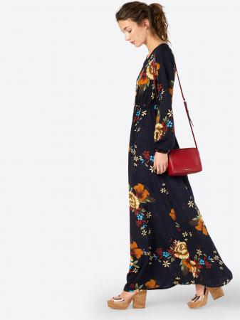 Longue robe bleu nuit à motifs floraux