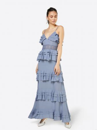 Longue robe de cérémonie à volants couleur lavande