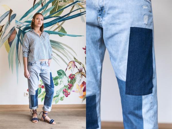DYI-jeans met patchwork