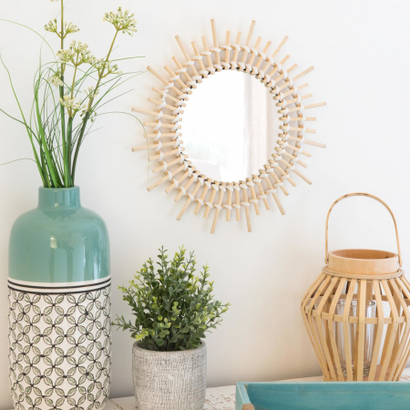 Petit miroir soleil en bambou