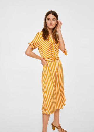 Gestreepte jurk met strik
