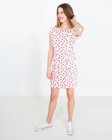 Roomwitte jurk met kusjesprint