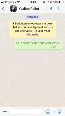 Een bericht verwijderen in WhatsApp