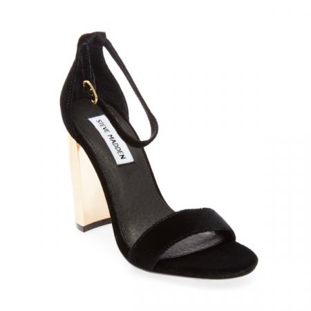 Sandales noires à talons dorés