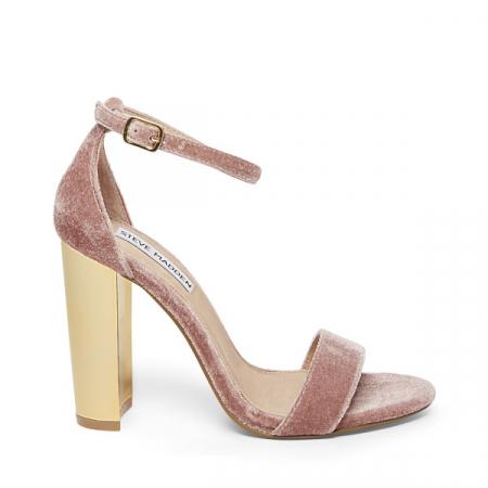 Sandales roses en à talons dorés