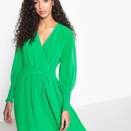 Robe portefeuille vert gazon