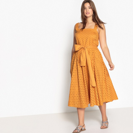 Robe style tablier ocre