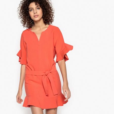 Robe volantée orange