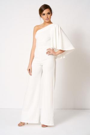 Witte jumpsuit met blote schouder en cape