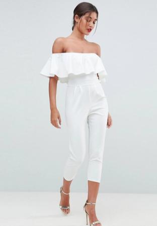 Witte jumpsuit met tapered fit