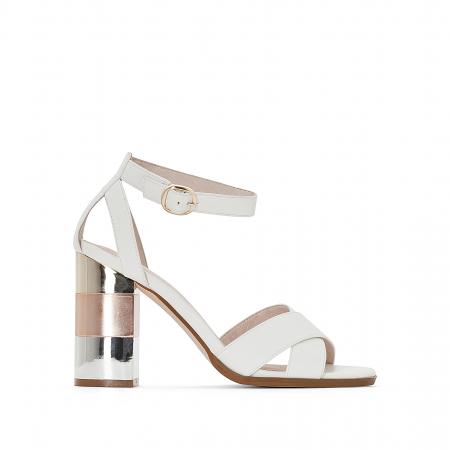 Witte sandaal met enkelbandje en metallic hak