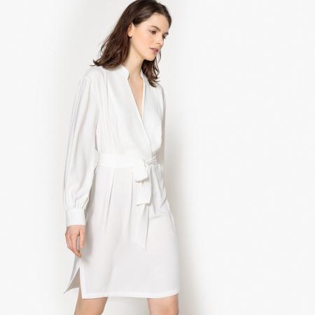 Effen jurk met riem en split