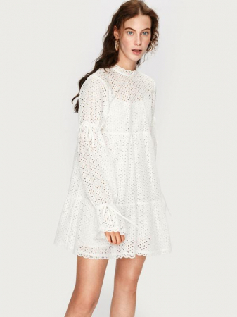 Witte katoenen jurk uit broderie anglaise 'Salma'