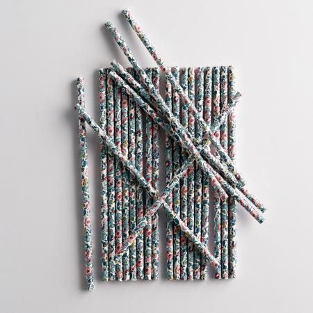 Lot de 24 pailles avec motif Liberty