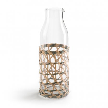 Carafe en verre et bambou