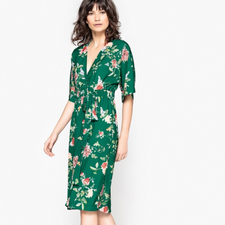Groene kimonojurk met bloemenprint
