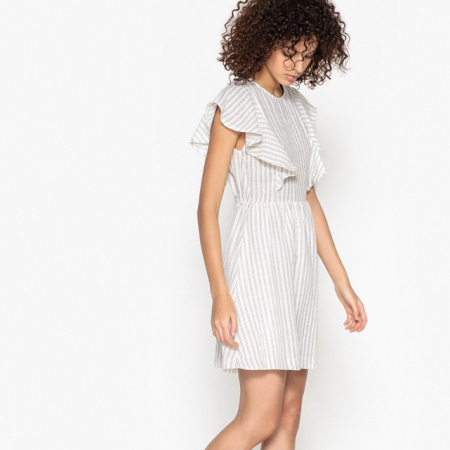 Mini-jurk in ecru met volants