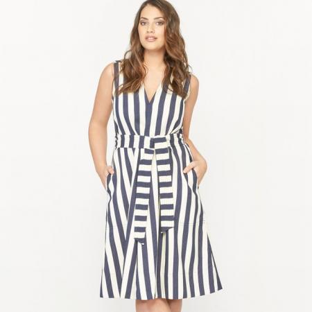 Mouwloze midi-jurk met strikceintuur