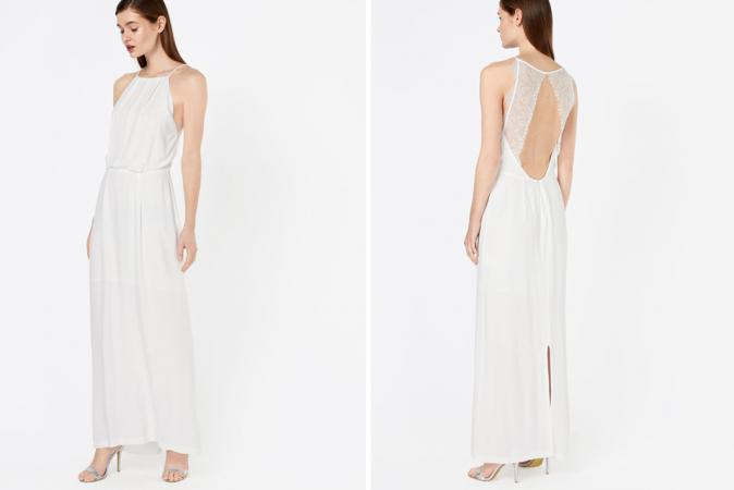 Crèmekleurige maxi-jurk met kanten details