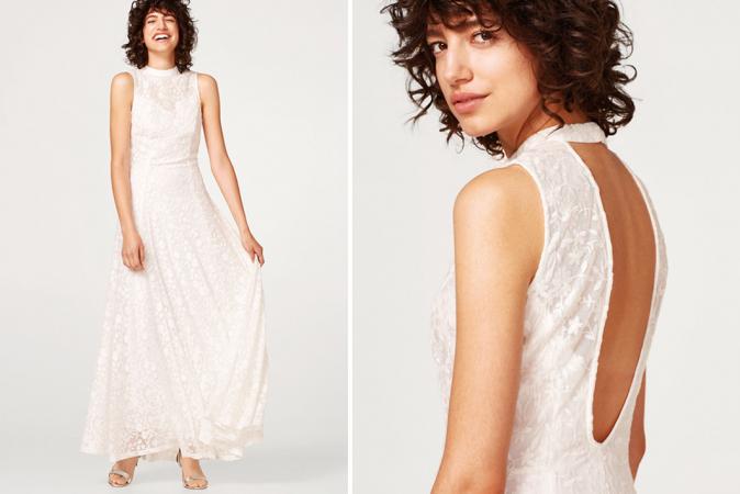 Witte maxi-jurk van geborduurde mesh