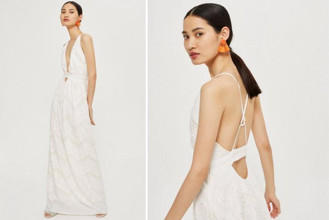 Ivoorkleurige maxi-jurk met haltertop