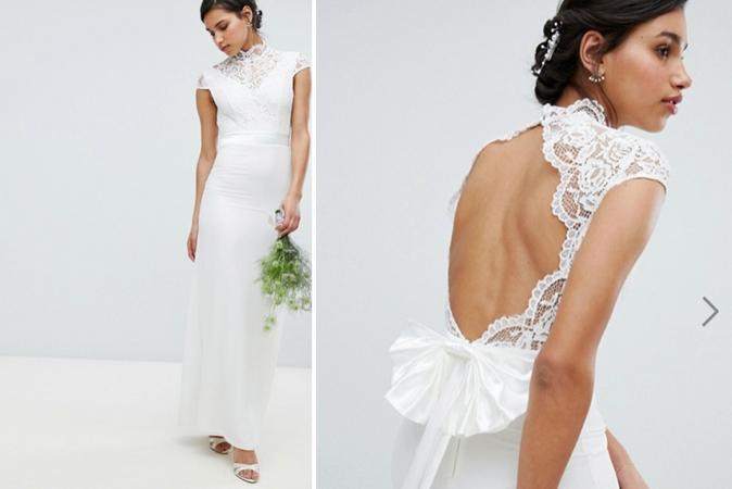 Ivoorkleurige maxi-jurk met opstaand kraagje en kanten details