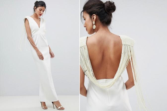 Crèmekleurige maxi-jurk met rugdecolleté bezet met nepparels