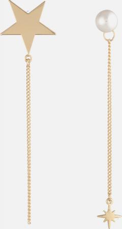 Goudkleurige oorbellen met ster en faux pearl