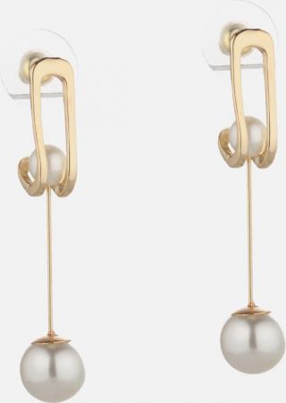 Goudkleurige oorbellen uit roestvrij staal met faux pearls 'Katie'