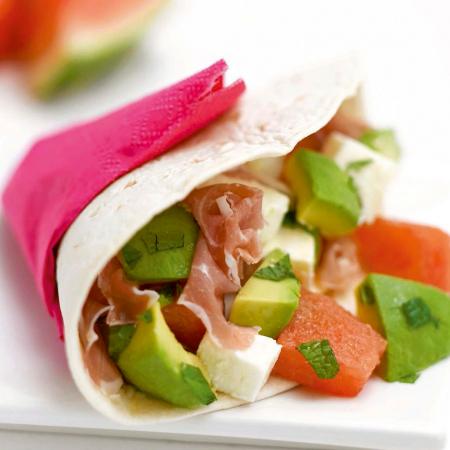Woensdag: wrap met watermeloen, avocado en Italiaanse ham