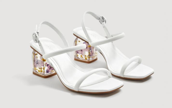 Leren sandalen met PVC-hak en bloemen
