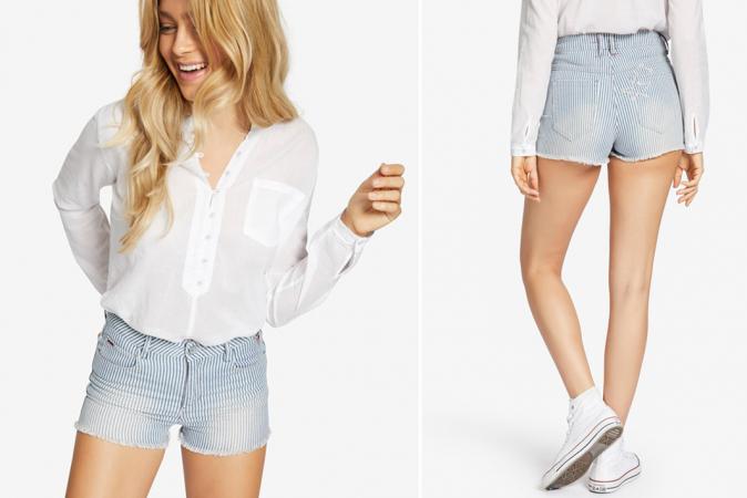 Gestreept jeansshortje