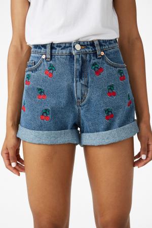 Jeansshort met kersenmotief