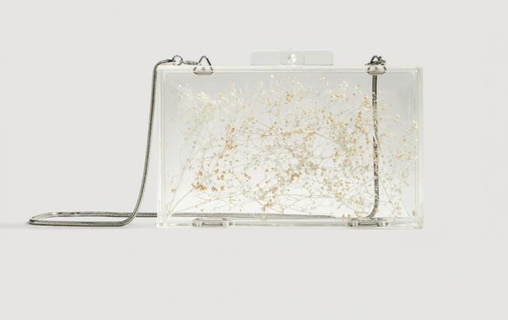 Transparante clutch met bloemen
