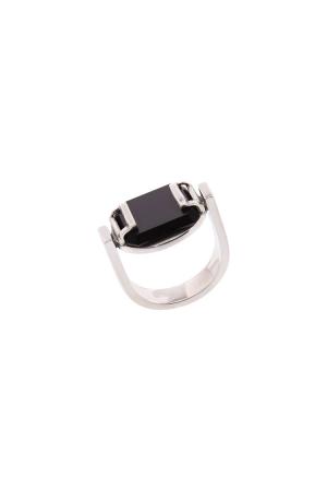 Zilveren ring met onyx