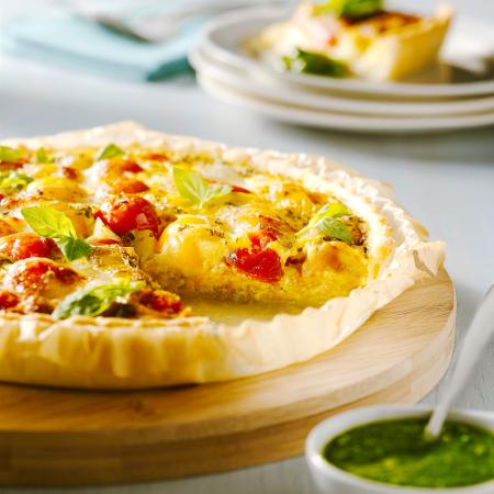 Woensdag: quiche met tomaten en mozzarella