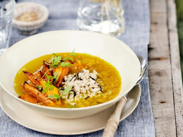 Vrijdag: wortelsoep met wilde rijst