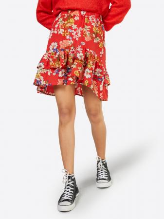 Rode minirok met bloemenpatroon