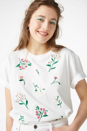 T-shirt van organisch katoen met geborduurde bloemen