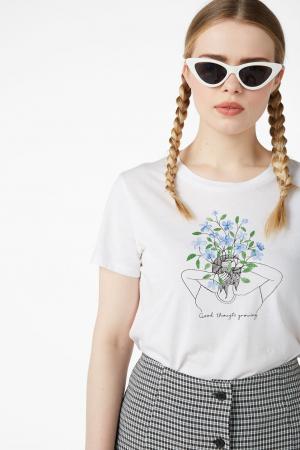 T-shirt van organisch katoen met tekening en opschrift 'Good thoughts growing'