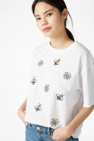 T-shirt van organisch katoen met bloemen- en bijenmotief