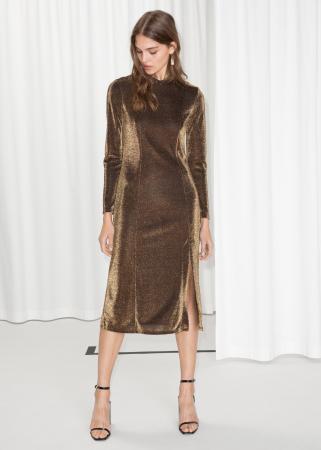 Robe midi couleur bronze