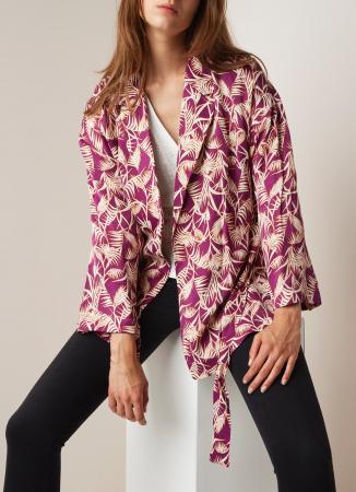 Frambooskleurige kimono met palmprint