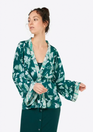 Woudgroene kimono met bladmotief