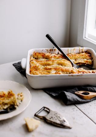 Lasagne blanche au jambon et aux pommes