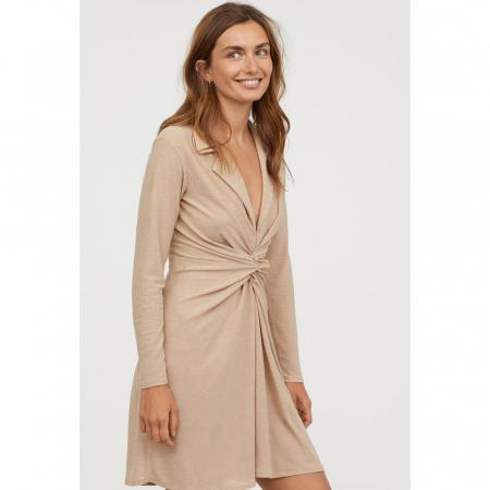 H&M, robe nouée en maille texturée
