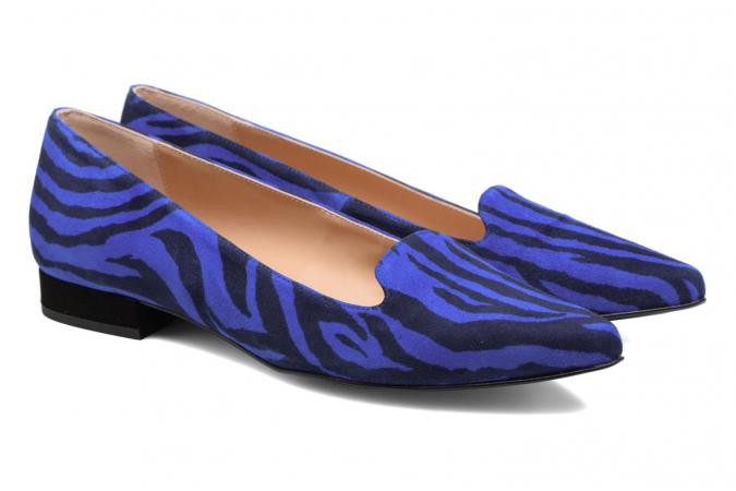 Mocassins met zebrapatroon in indigo