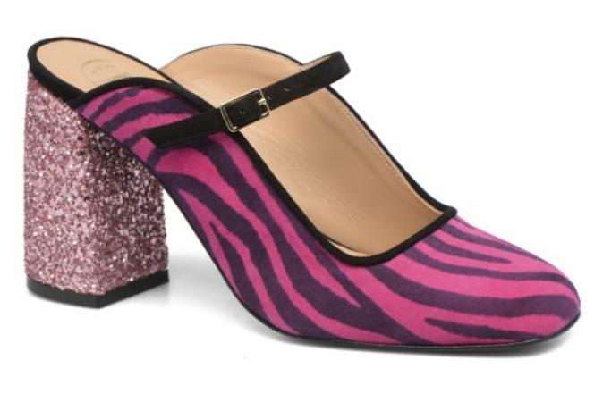 Roze instappumps met zebraprint en glitterhak
