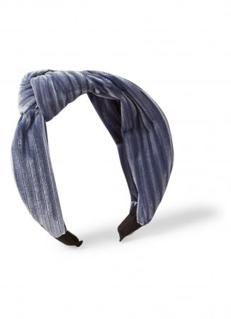 Geknoopte haarband in zilverblauw