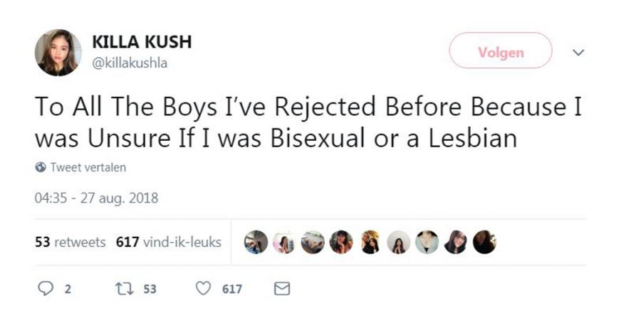 Aan alle jongens die ik heb afgewezen omdat ik twijfelde of ik biseksueel of lesbisch was